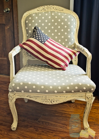 Upcycled vintage chair with polka dot material with burlap flag pillow from World Market