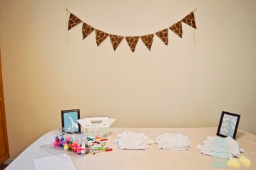 Giraffe print burlap banner for boy baby shower