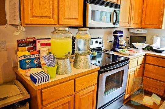 Lemonade and blue straws for boy baby shower