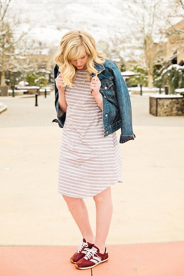 Spring Fashion Jean Jacket Linen dress sketcher trainers