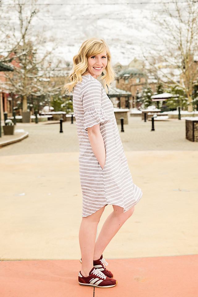 Spring Fashion Linen dress red sketcher trainers sideshot