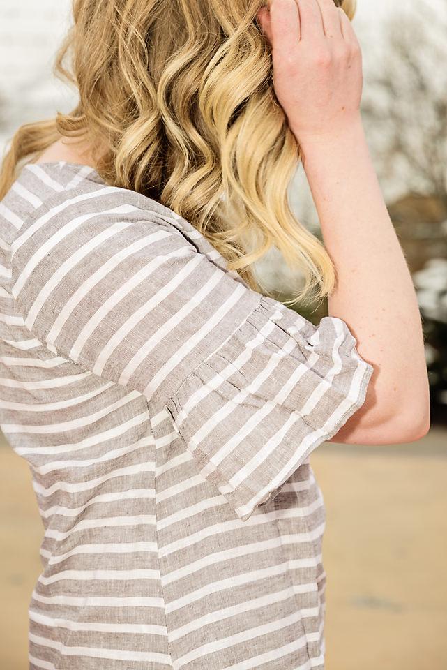 Spring Fashion Linen dress ruffle sleeve detail