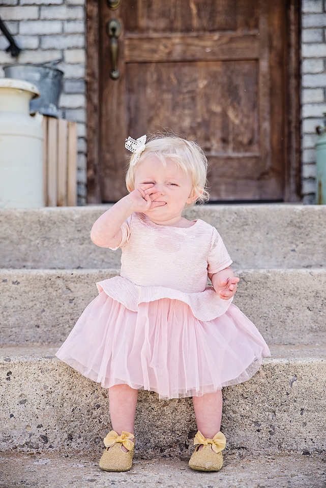 Easter Pictures pouting baby pink dress